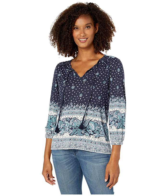 Lucky Brand  3/4 Sleeve Placed Print Knit Peasant Top (Blue Multi) Womens Clothing