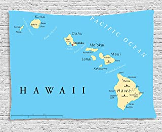 Ambesonne Hawaiian Decorations Collection, Map Of Hawaii Islands With Capital Honolulu, Borders, Important Cities And Volcanoes, Bedroom Living Room Dorm Wall Hanging Tapestry, 80W X 60L Inch