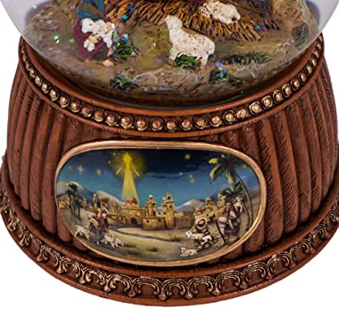 Charming Natural Brown Holiday Nativity 5.5 x 4 Resin Decorative Tabletop Snow Globe