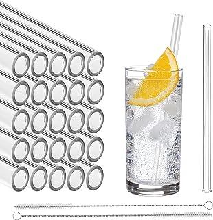 Pajitas de vidrio STRAWGRACE®, hechas a mano, rectas - probadas de forma independiente en DE - 25 piezas 20 cm, 2 cepillos - pajitas de vidrio hechas de vidrio de laboratorio altamente estable