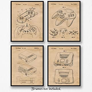 Original Nintendo Video Games Patent Poster Prints, Set of 4 (8x10) Unframed Photos, Wall Art Decor Gifts Under 20 for Home, Office, Man Cave, Shop, College Student, Teacher, Comic-Con & Gaming Fan