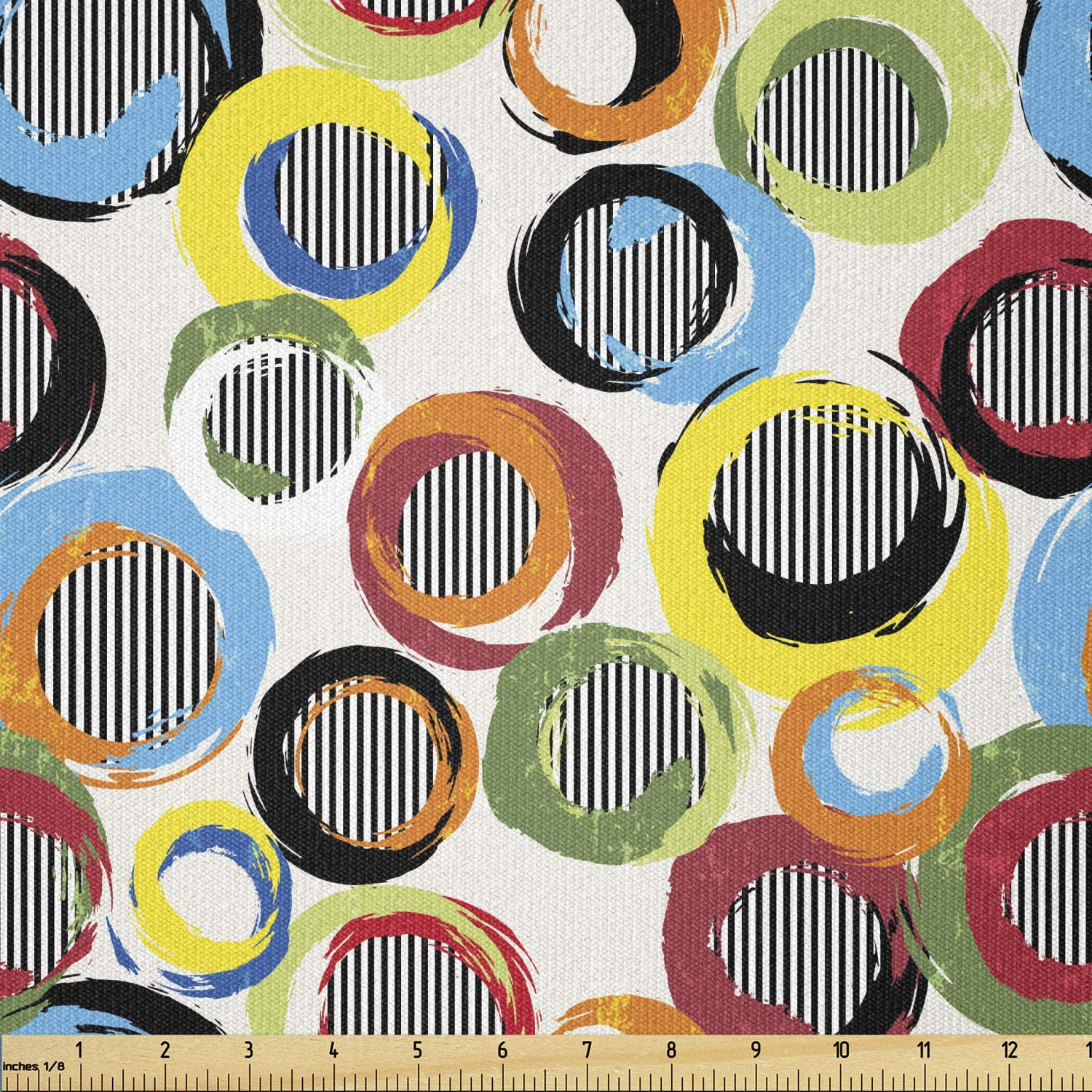 Lunarable Colorful Fabric by The Circles Max 59% OFF Topics on TV and Yard Vibrant Funky