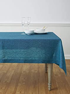 Solino Home 100% Pure Linen Tablecloth - 60 x 90 Inch Chambray Teal, Natural Fabric, European Flax - Athena Rectangular Ta...