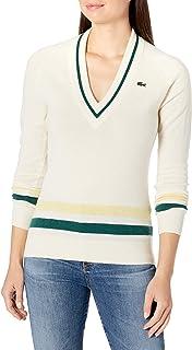 Lacoste Women's Sport Long Sleeve V-Neck Striped Golf Sweater
