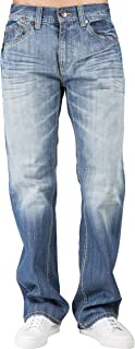 Level 7 Men's Relaxed Bootcut Premium Denim Jeans Whiskering Medium Blue Wash