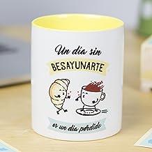 La Mente es Maravillosa - Taza con frase de amor y dibujo romántico (Un día sin Besayunarte es un día perdido) Regalo para San Valentín