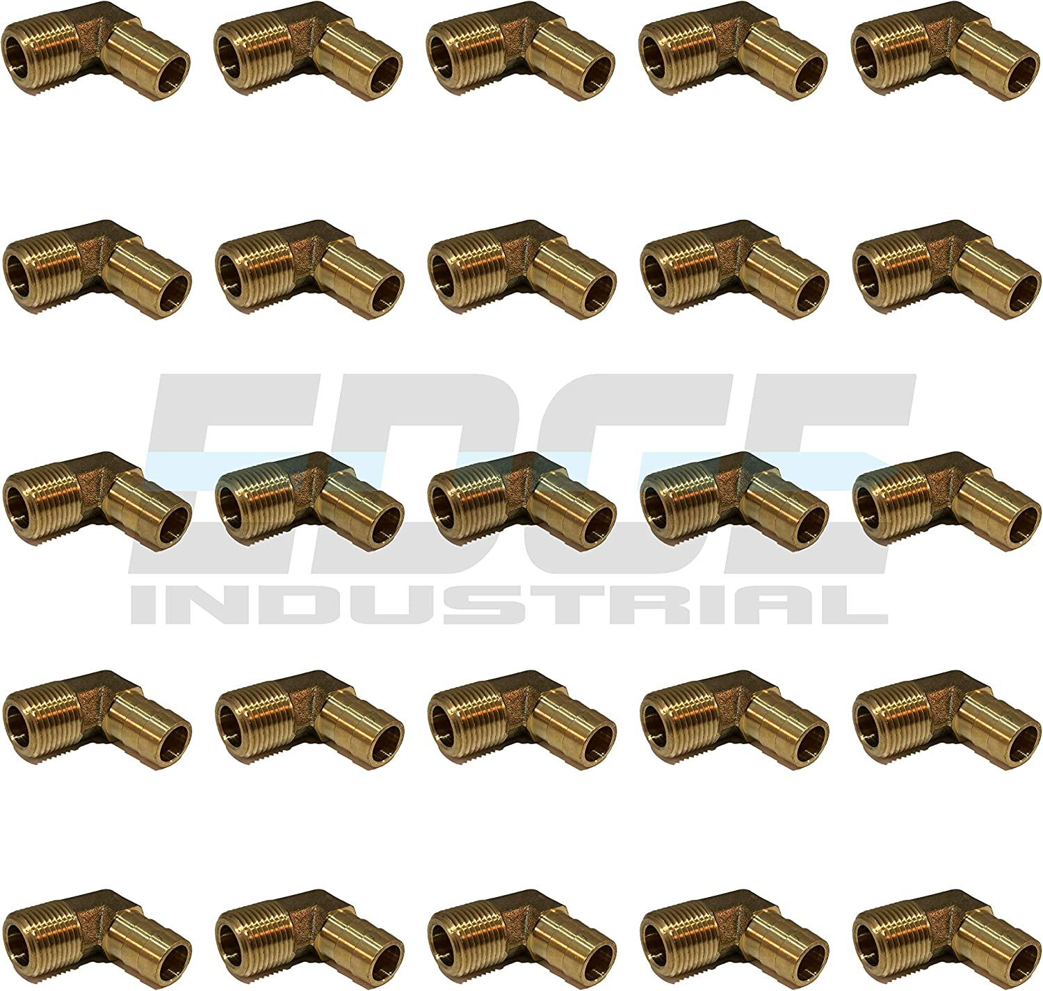 Gas Water EDGE INDUSTRIAL 1//2 Hose ID to 3//8 Male NPT MNPT 90 Degree Brass Elbow Fitting Fuel WOG AIR Qty 01 Oil