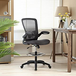 Serena Mesh Drafting Chair, Tall Office Chair for Standing Desk by Naomi Home Gray/Black