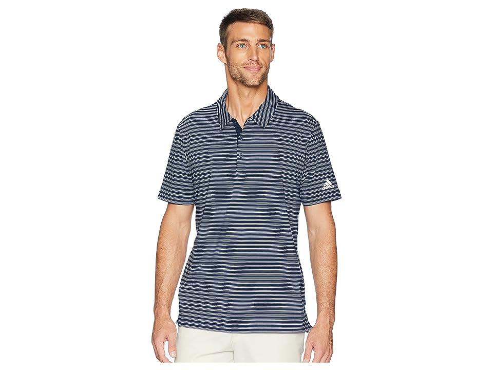 adidas Golf Ultimate 2-Color Stripe Polo (Collegiate Navy/White) Men