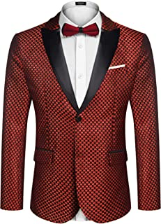 COOFANDY Men's Fashion Tuxedo Jacket Embroidered Suit Jacket Luxury Blazer for Dinner,Party,Wedding,Prom