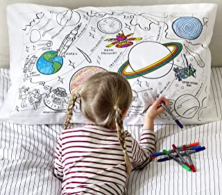 eatsleepdoodle Color & Learn Discover Space Cotton Pillowcase - Planets, Rockets, Astronauts and 1969 Moon Landing to Color in, with wash-Out pens
