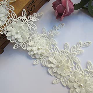 1 Yard 3D Layer Beaded Flower Lace Trim Ribbon Cotton Leaves Fringed Edge 10.2cm Width Vintage Apricot Edging Trimming Fabric Embroidered Applique Sewing Craft Wedding Bridal Dress Clothes Headband