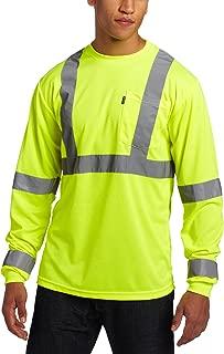 Key Apparel Men's Big & Tall Waffle Knit, ANSI II Class 3 Hi-Visibility Long Sleeve Pocket T-Shirt