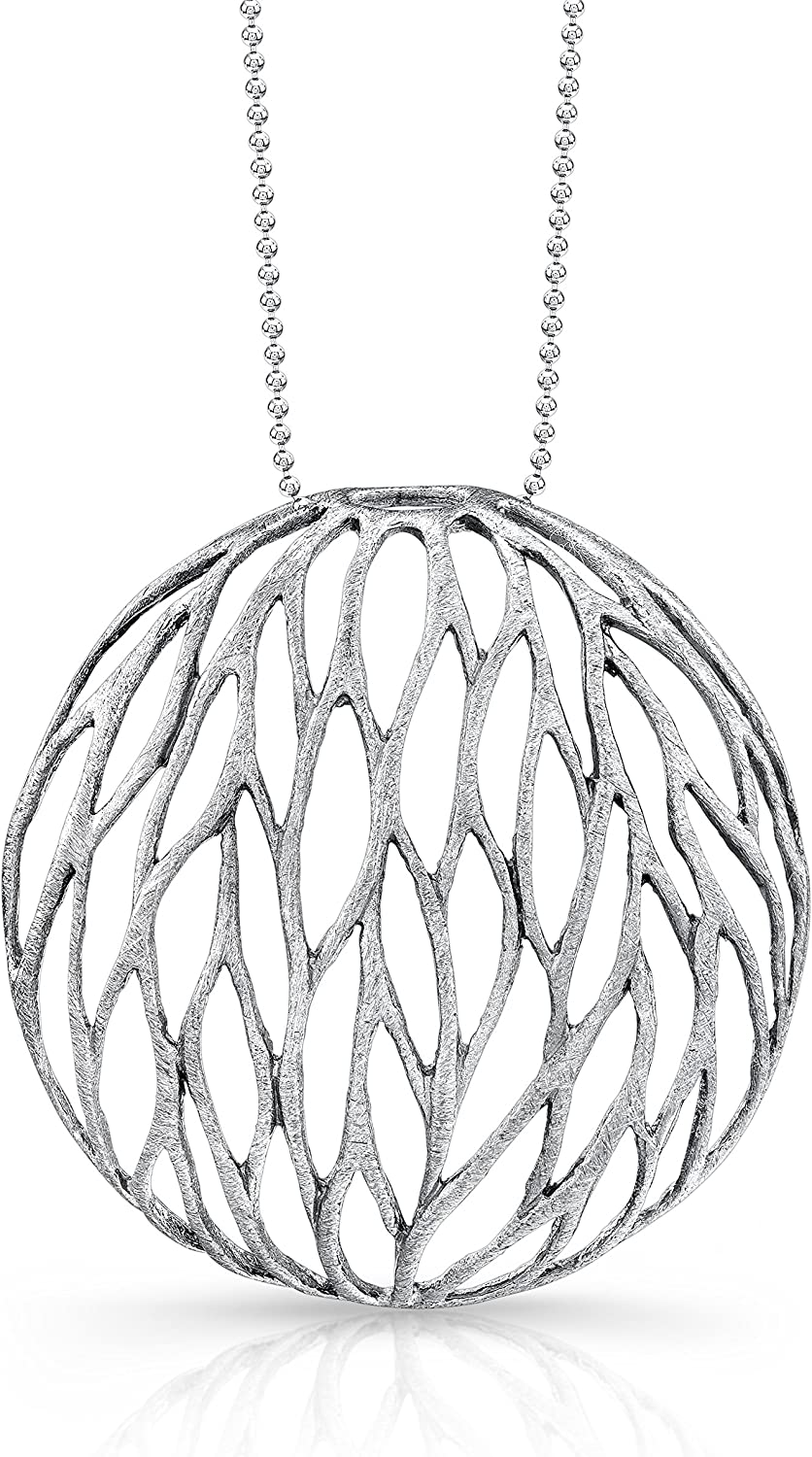 Victoria Kay Sterling Silver Large Mesh Leaf Circle Necklace