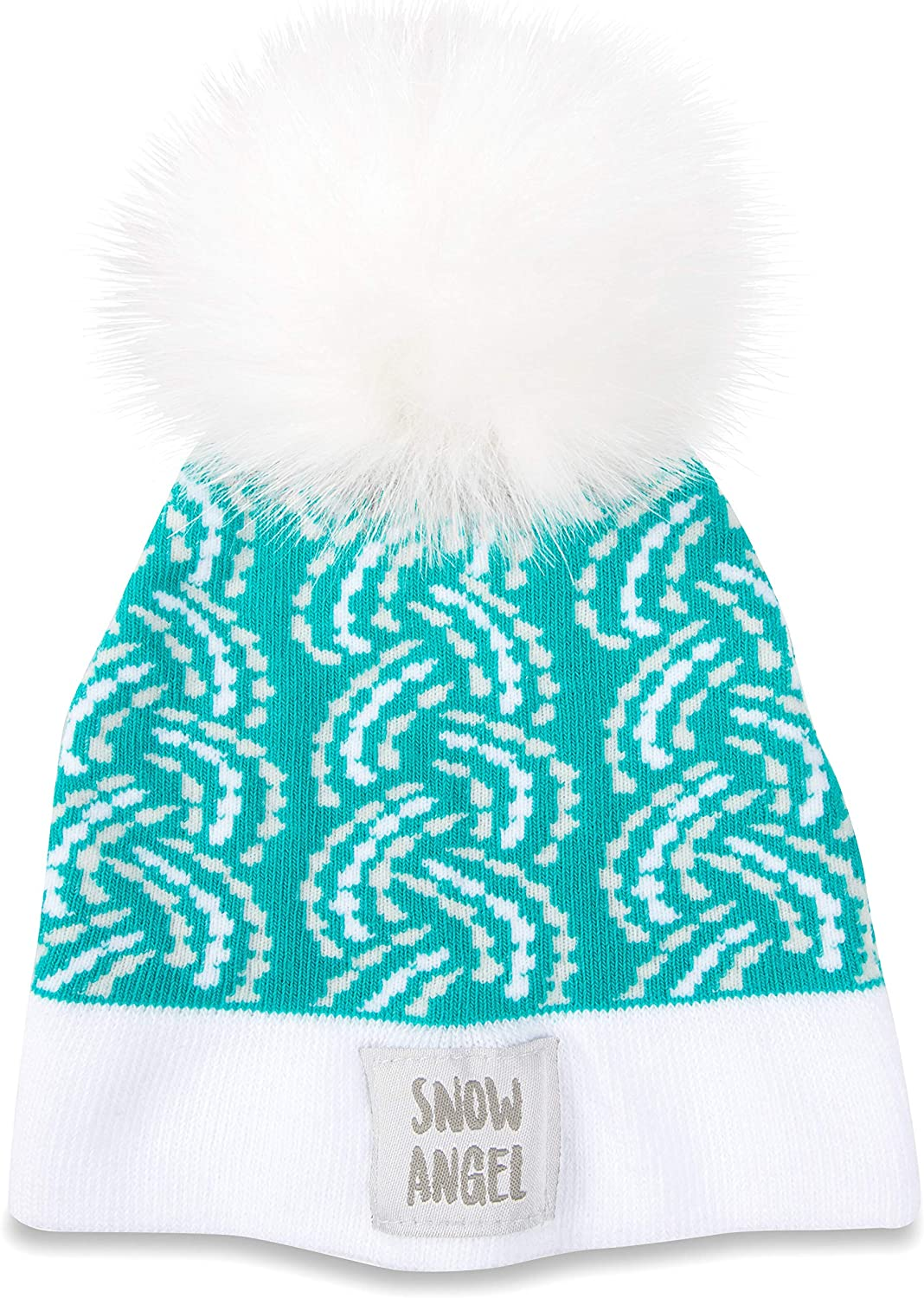 Pavilion Gift Company Snow Angel-Teal Knit Pom Hat (12-24 Months), Blue, One Size
