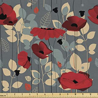 Ambesonne Poppy Flower Fabric by The Yard, Abstraction of a Growing Floral Garden Leaves Botanical Modern Nature, Decorati...