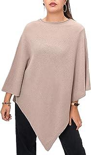 Fantasie Terrene Poncho Cashmere Donna, Fatto a Maglia in Filato Misto Cashmere di Alta qualità. Made in Italy. Colore Beige