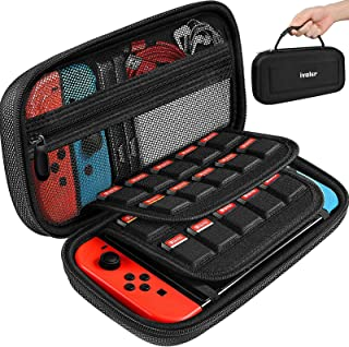 ivoler Bärväska för Nintendo Switch, svart skyddande bärbar hård skal väska bära resa spelväska med 2 pack skärmskydd