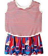 Junior Gaultier - Striped/Color Block Front and Back Printed Dress (Big Kids)