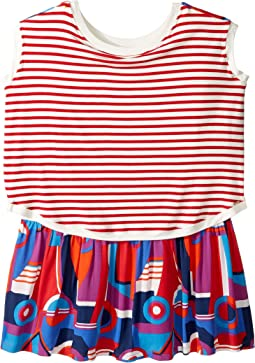 Striped/Color Block Front and Back Printed Dress (Big Kids)