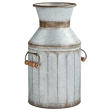 Amazon Brand – Stone & Beam Vintage Rustic Farmhouse Galvanized Metal Milk Jug Home Decor Planter Vase - 12.75 Inches, Grey