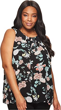 Plus Size Sleeveless Floral Gardens Blouse