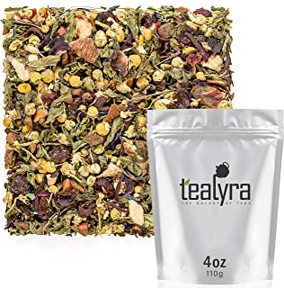 Tealyra - Peach Mint Julep - Chamomile Nettle Hibiscus - Herbal and Fruity Loose Leaf Tea - Calming & Relaxing - Hot and Iced Tea - Caffeine-Free - 110g (4-ounce)