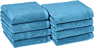 AmazonBasics Quick-Dry, Luxurious, Soft, 100% Cotton Towels, Lake Blue - Set of 8 Hand Towels