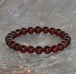 Pulsera de Granate Piropo de 7 mm, Pulsera de Piedra preciosa muy rara y seleccionada, Pulsera color rojo granate, Cuentas...