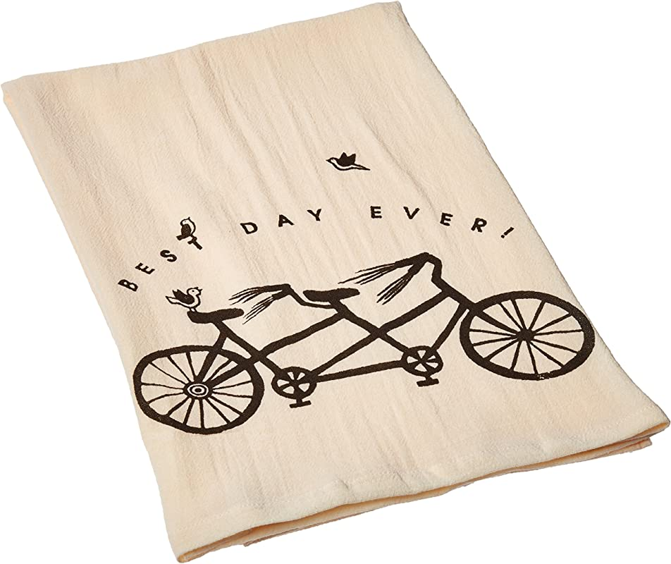TAG 205548 Best Day Flour Sack Dishtowel Ivory Black 29 W X 28 L