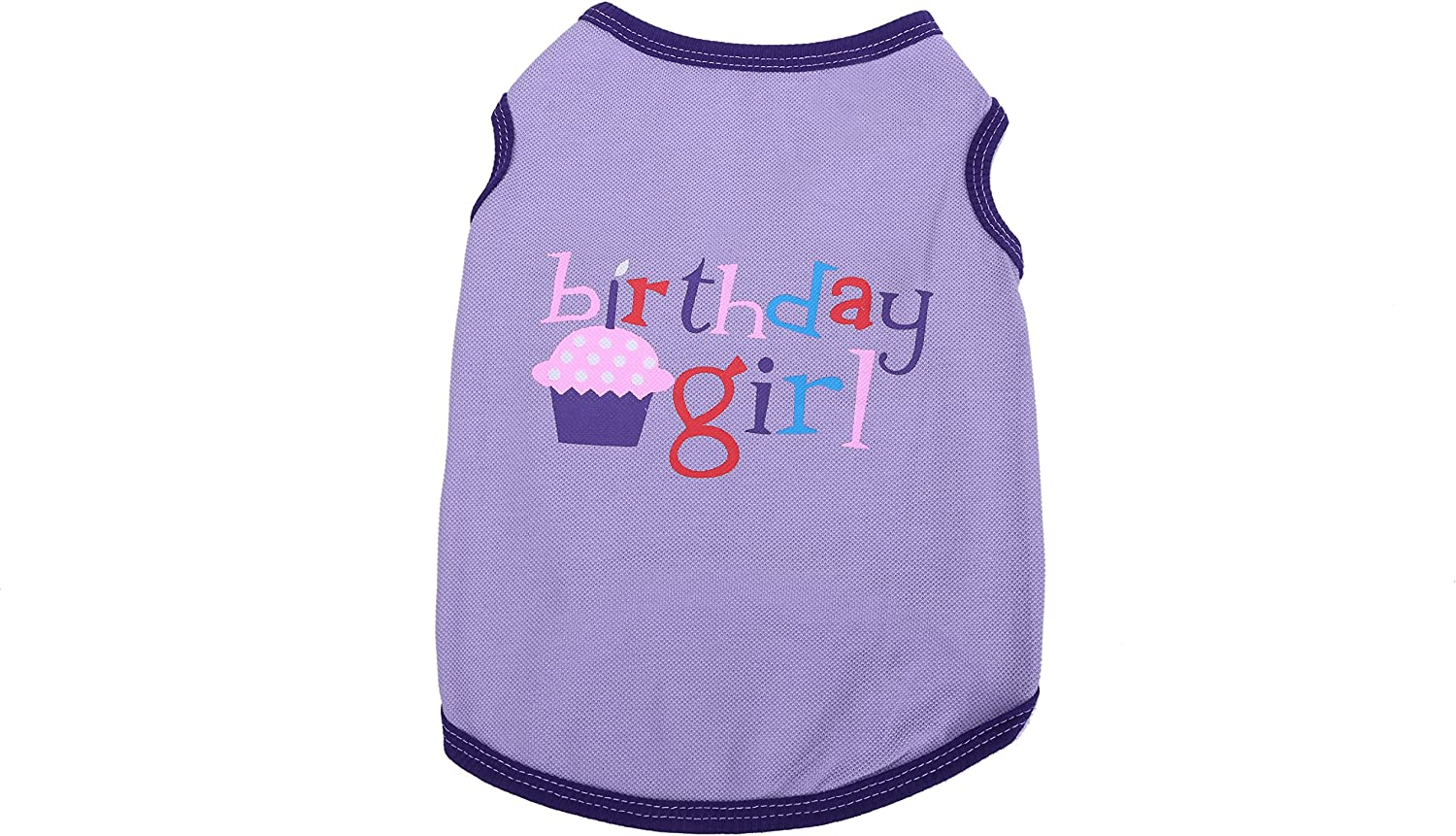 Birthday Girl Print Tank Top Vest TShirt for Pet Puppy Summer Clothes for Small Dogs (L, Purple)