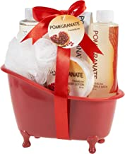 Red Pomegranate Bath and Body Spa Gift Set Displayed In Red Tub Includes Shower Gel, Bubble Bath, Body Lotion, Pomegranate Bath Salt and Pouf, Perfect Spa Relaxation Gift