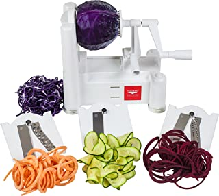 Paderno World Cuisine 3-Blade Vegetable Slicer / Spiralizer, Counter-Mounted and includes..
