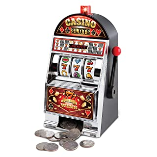Sharper Image Electronic Casino Slot Machine Coin Bank, Turn Saving to a Game, LED Lights and Sound Effects, Real Spinning Reels, Pays Out on a Win, Fun Piggy Bank, Home Décor for Man Cave or Bar