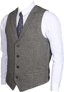 2Pockets 4Buttons Wool Herringbone Tweed Tailored Collar Suit Vest