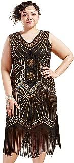 BABEYOND Women's Plus Size Flapper Dresses 1920s V Neck Beaded Fringed Great Gatsby Dress
