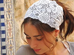 Stunning White Stretchy Lace Headband Bandana, Tichel, Head Covering, Scarf, Half Coveing, Pre-tied, Loss Hair