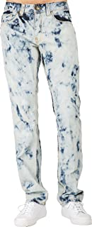 Men's Premium Jeans Slim Straight Abstract Bleached Wash