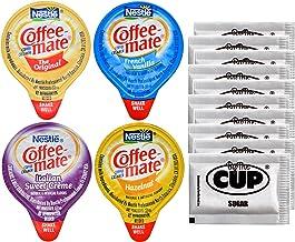 Coffee-Mate Liquid .375oz Variety Pack (4 Flavor) 100 Count includes Original, French Vanilla, Hazelnut, Italian Sweet Crè...