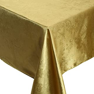 QUEEENSHOW Polyester Oblong Tablecloth Dust-Proof Picnic Cloth Table Cover for Kitchen Dinning Tabletop, Golden Beige 54