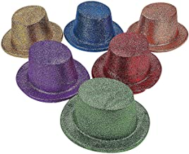 Fun Express - Asst Bright Glitter Top Hats for New Year's - Apparel Accessories - Hats - Party Hats - New Year's - 12 Pieces