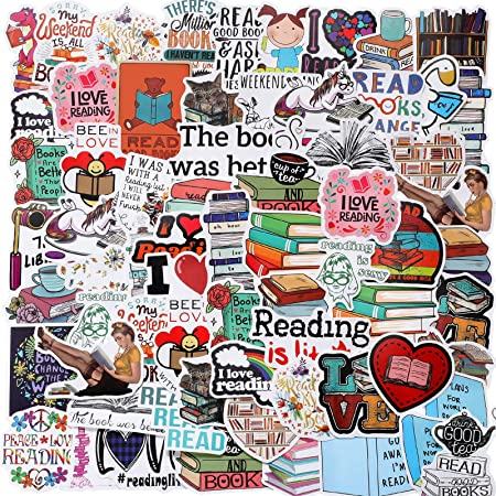 Zonon 100 Pieces Reading Stickers Waterproof Motivational Stickers Vintage Books Study Stickers for Computer, Luggage, Guitar, Laptop, Water Bottle, Refrigerator, Car, Bike, Bicycle
