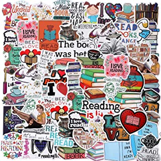 Zonon 100 Pieces Reading Stickers Waterproof Motivational Stickers Vintage Books Study Stickers for Computer, Luggage, Gui...