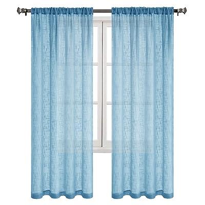 DWCN Faux Linen Sheer Curtains - Rod Pocket Sem...