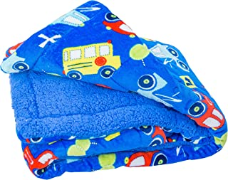 Elegant Home Kids Soft & Warm Cars Trucks Buses Sherpa Baby Toddler Boy Sherpa Blanket Multicolor Printed Borrego Stroller or Toddler Bed Blanket Plush Throw 40X50# Car