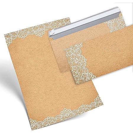 beidseitig bedruckt auf 90g//m/² Papier f/ür alle Drucker geeignet 25 Blatt Vintage Briefpapier im DIN A4 Format