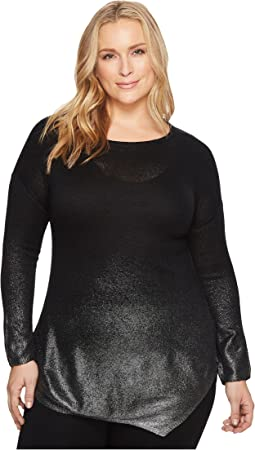 TWO by Vince Camuto - Plus Size Long Sleeve Asymmetrical Hem Foil Ombre Dip-Dye Sweater