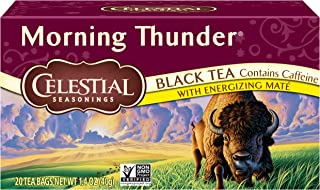 Celestial Seasonings Black Tea, Morning Thunder with Maté, 20 Count