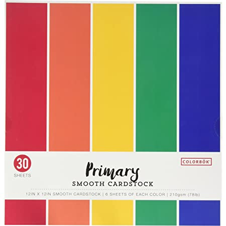 """Colorbok 68207B Smooth Cardstock Paper Pad, 12"""" x 12"""", Primary"""