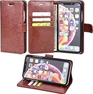 iPhone XR ケース 手帳型 Wisdompro 耐衝撃 合皮レザー スタンド機能 マグネット式 横開き 四つポケット カード収納 アイフォン XR カバー 財布式 【ブラウン】
